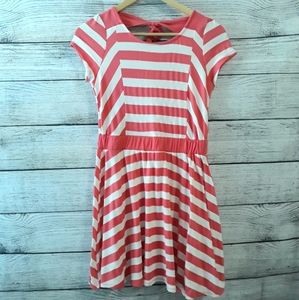 Girls Dress with Coral stripes size L